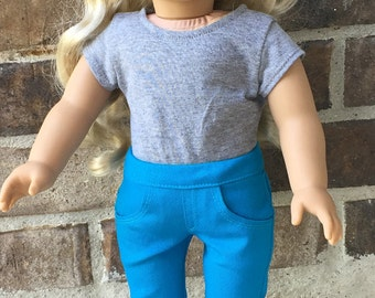 Stretch Denim Jeans for American Girl and similar 18 inch dolls - Turquoise