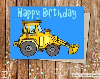 printable birthday cards,birthday card for boy,Buldozer card,Construction printable,Printable Envelope A2,HAPPY BIRTHDAY CARD,MokileArt