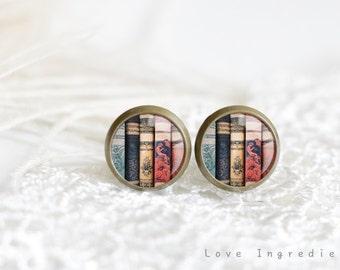 Old books tiny stud earrings, Book earrings, librarian earrings, Literary earrings, stud earrings, Post earrings, literary jewelry, Z031