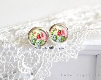 Vintage floral stud earrings, gold silver vintage tiny stud earring everyday jewelry Post earrings, free gift box,,Modern Minimalist, PF001