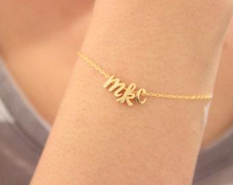 Cursive letter bracelet, lowercase initial bracelet, tiny silver bracelet, sister gift, gift for best friend, gift for mom delicate bracelet
