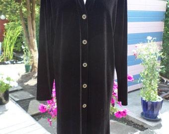 1960's vintage Long Black velvet Evening coat / cardigan