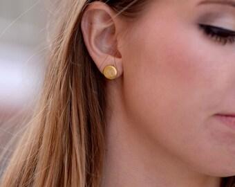 Engraved Monogram Earrings Studs |  18K Gold Plated