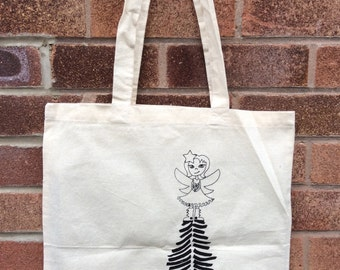 Screenprinted Tote Bag Shoulder Bag Handmade Christmas Fairy Goth Boots Unique Design