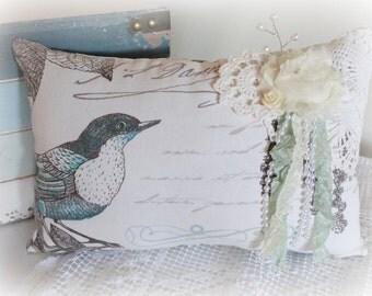 Blue Bird Pillow, Decorative,Throw Pillow, Lace, Gifts, Free USA Shipping
