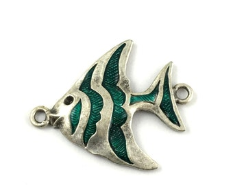 1 fish connector antique silver and enamel,43mm x 53mm   #CON052