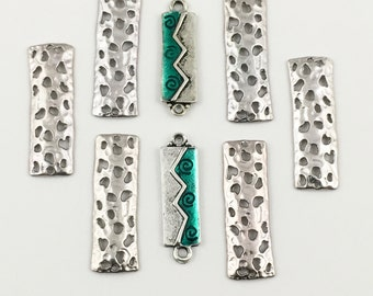 8 connectors antique silver and enamel,21mm to 25mm #CON066