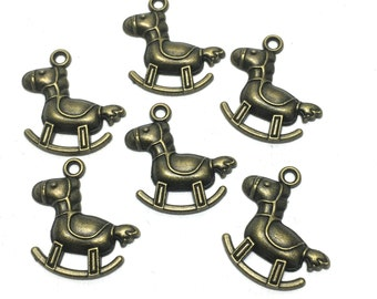 6 rocking horse charms bronze tone, 21mm  # CH 119