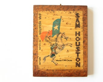 Vintage print on wood plaque Sam Houston / rustic wall decor of Texas history and man on a horse