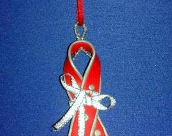 OOAK Hand Made Red Silver AIDS Awareness Ribbon Christmas Ornament 12