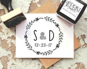 Wedding Stamp- Rustic Custom Round Initials and Date Self inking or Rubber Stamp- Wreath Stamp  10158