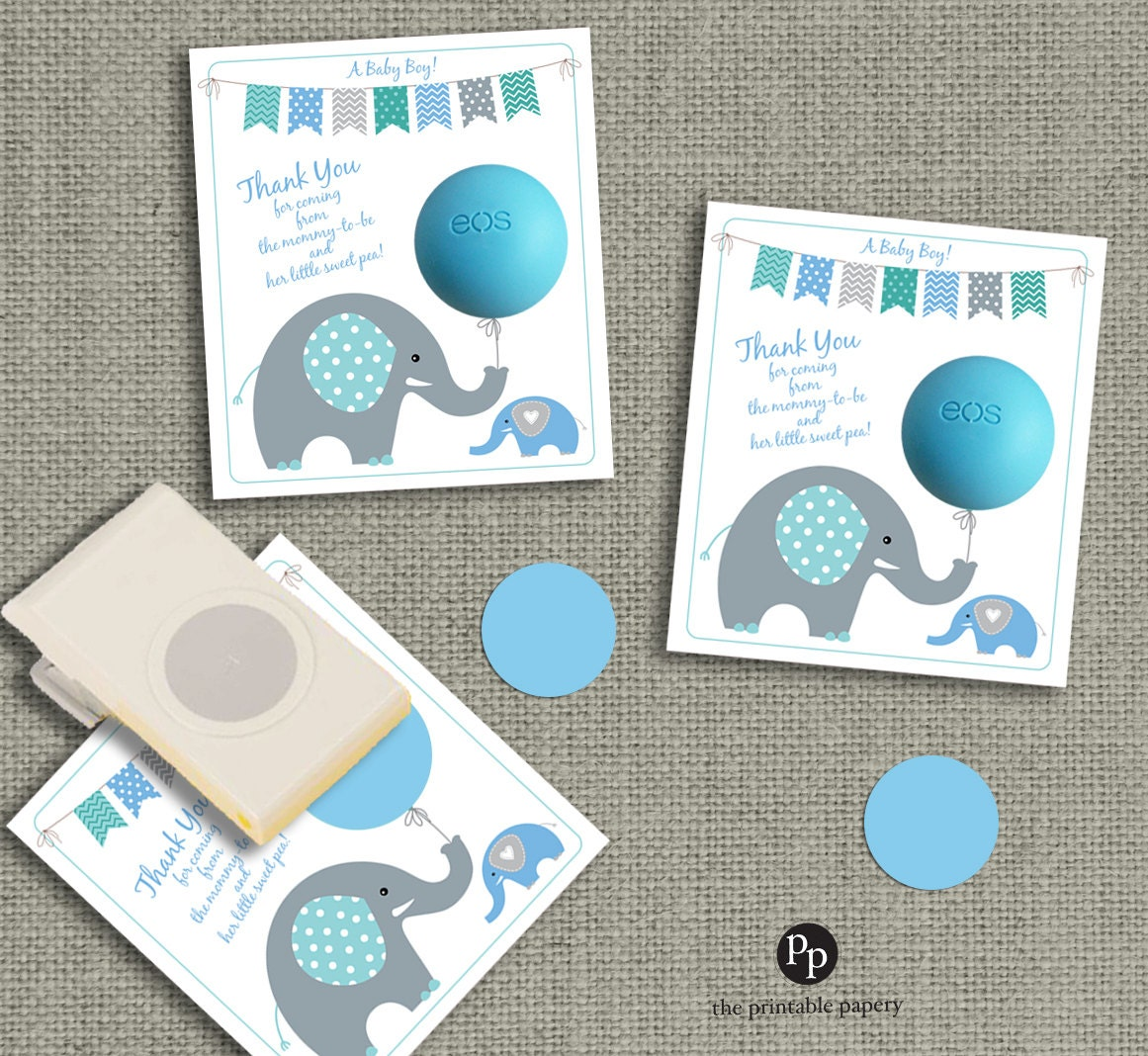 Baby Shower Gift Tags for EOS lip balm gifts by ThePrintablePapery