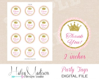 Princess Thank you Tags, Favor Tags, Gold Glitter Pink DIGITAL FILE
