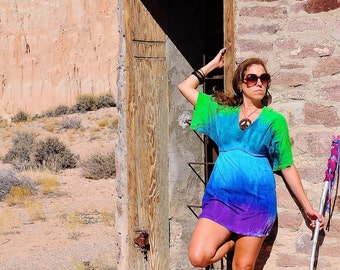 Tie Dye Top, OOAK Shirt, Small Kimono Dress, Festival Gear, Ladies Top, Hippie Dress