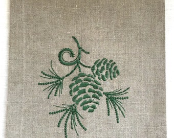 Pine Cone Tea Towel or Guest Towel  Embroidered on Natural Linen.  Hostess Gift.  Holiday Decor.
