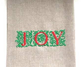Joy Embroidered Tea Towel, Guest Towel Christmas Gift, Hostess Gift on Linen.  Holiday towel.