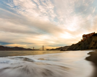 California Beach Photograph from San Francisco with the Golden Gate Bridge in the background at Sunrise - California Art from San Fran