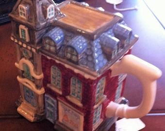 Teapot Victorian House,Ceramic House Large Teapot
