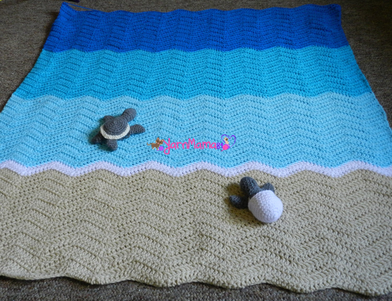 Crochet Sea Turtle Blanket Throw Beach Colors Dimensions