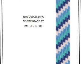 Pattern, peyote bracelet - geometric Blue descending peyote bracelet cuff pattern in PDF - instant download