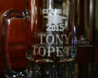 Graduation personalized beer mug/ etched beer mug/ graduation gifts/ major/ degree/ grad gifts/ class of 2016