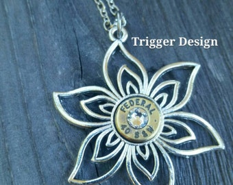 40 Caliber Bullet Necklace on Flower Charm - Crystal