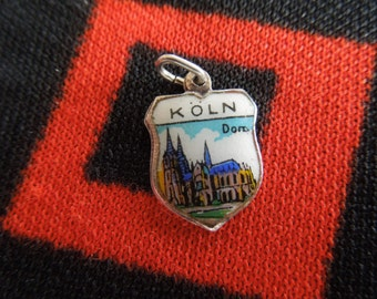 Enamel Koln Cologne Germany Silver Travel Shield Charm With Cologne Cathedral for Bracelet from Charmhuntress 02999