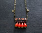 Ethnic Bar Necklace with Bright Orange Drop Beads, Antique Brass, Vintage Tea Tin, Oriental Jewelry, Asian Jewelry, Orange, Red and Black