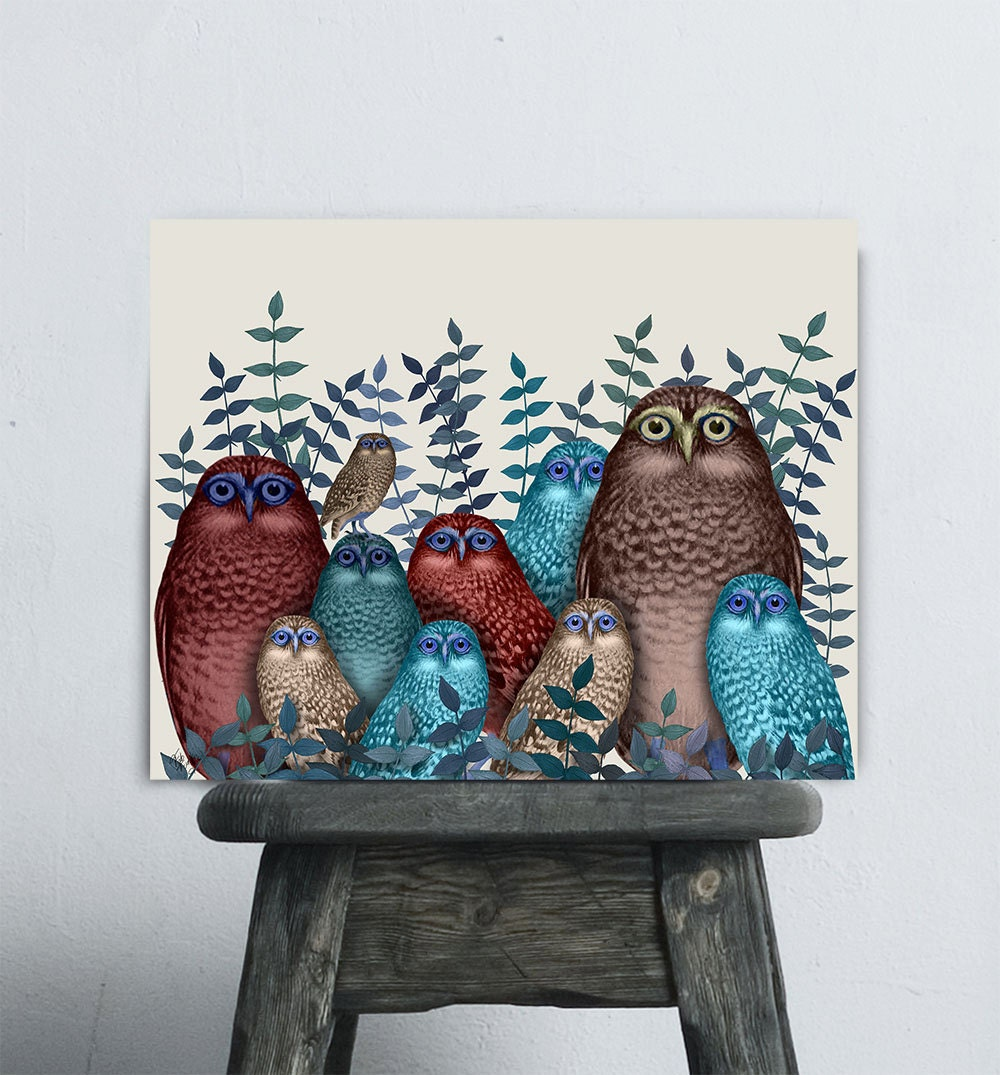 Owl Wall Art Electric Owls Red And Blue Owl Home Decor