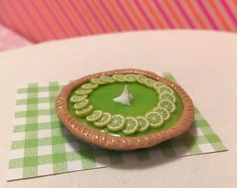 Miniature Key Lime Pie Dessert (playscale 1:6 scale diorama play mini for fashion/teen dolls)