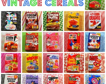 Miniature Retro Breakfast Cereal Box (playscale 1:6 scale diorama play mini for fashion/teen dolls) vintage-style
