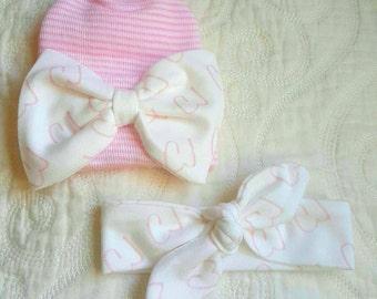 Personalized Hat and Headband set. Baby Name Hospital Set.  Knot Headbands and Newborn Beanie.  Baby Name Headband.