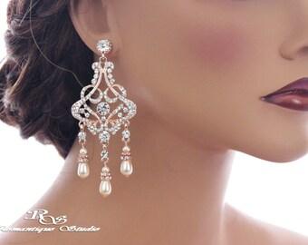 ROSE GOLD wedding earrings crystal earrings pearl drop earrings bridal jewelry bridesmaid earrings rhinestone chandelier earrings 1344RG