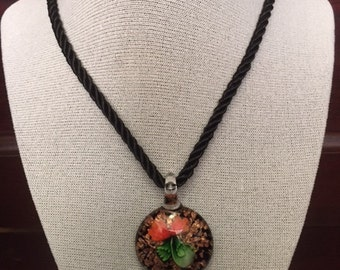 "Blown Glass Coral Flower Murano Style Pendant With 20"" Black Cable Cord"