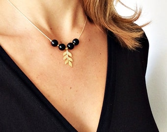 Golden Branch Pendant Necklace, Onyx Necklace, Leaves Neckalce, Branch Necklace, Briedsmaids Gift, Bridal Jewelry