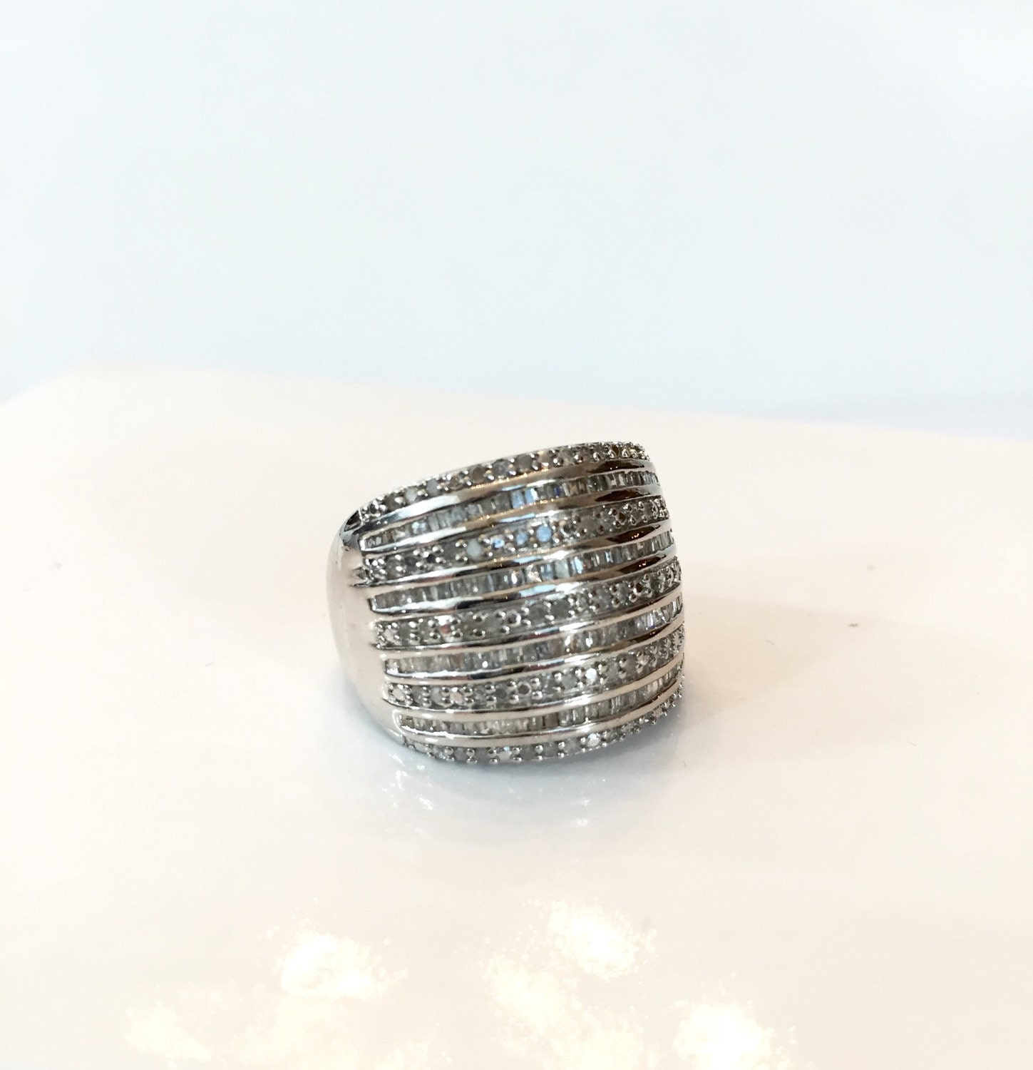 1 ct ring sterling silver wide band wedding bridal