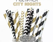 Black and Gold Paper Straws, New Years Eve, Christmas, City Nights, Winter, Wedding, Chic, Shower,Chevron, Dots, Party, Vintage, 25 Straws
