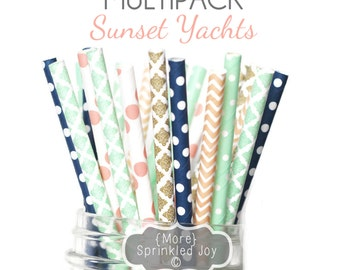 SUNSET YACHTS Paper Straws,Peach, Mint, Light Coral, Gold, Wedding, Navy, Damask, Dots, Vintage, 25 Straws, Stripes, Shower, Party