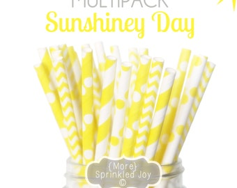 SUNSHINEY DAY, Yellow Paper Straws, Multipack, Chevron, Dots, Baby Shower, 25 Straws, Wedding, Birthday, Damask, Party