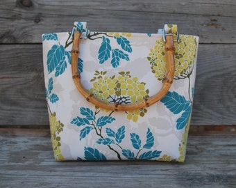 Bamboo Handle Tote Bag Yellow Hydrangea Flower, Fabric Tote Bag, Cotton Purse, Floral Cotton, Fabric Purse, Cotton Handbag, Fabric Handbag
