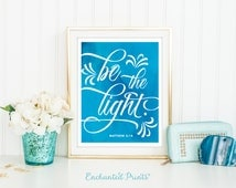 Matthew 5:14 - Be the light - Blue Watercolor Scripture Quote Print, Printable art, Inspirational quotes poster - Instant Download