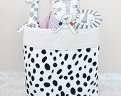BLACK DOTS Large Storage Bin Toy Organizer Fabric Bucket