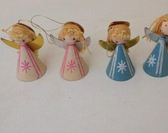 Vintage Set of (4) Adorable Paper and Yarn Angel  Figurines  Marked Japan