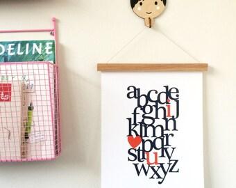Alphabet I love you Fine Art Print, 11x14