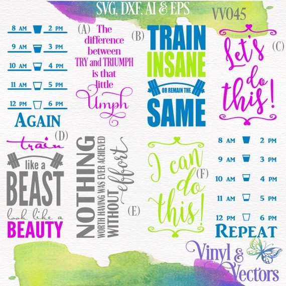 Fitness Water Bottle Svg Vector Cutting File By