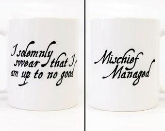 I Solemnly Swear That I Am Up To No Good (Mischief Managed) - Double Sided Coffee Mug - Harry Potter Mug