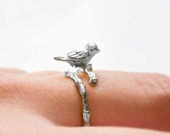 Bird ring silver