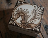 "Wooden Box - Pyrography ""Pegasus"""