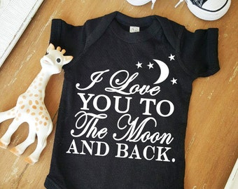 I love you to the moon and back Baby Black Bodysuit by Simply Chic Baby Boutique