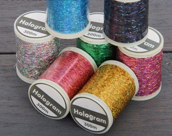 Sparkle Glitter Thread Set - 7 Colors of Holographic Thread -300 Meters